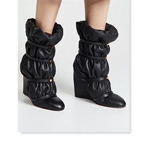 New STUART WEITZMAN Black Leather Wedge Booties 7